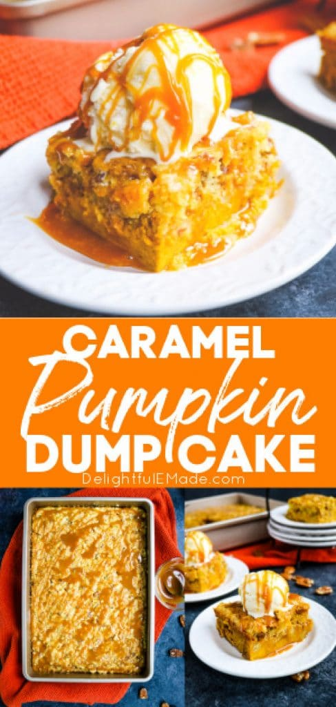 Pumpkin dump cake recipe topped with ice cream and caramel drizzle.
