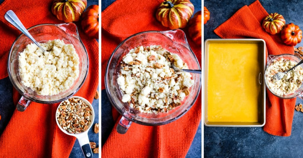Cake mix with pecans that tops the pumpkin dump cake recipe.