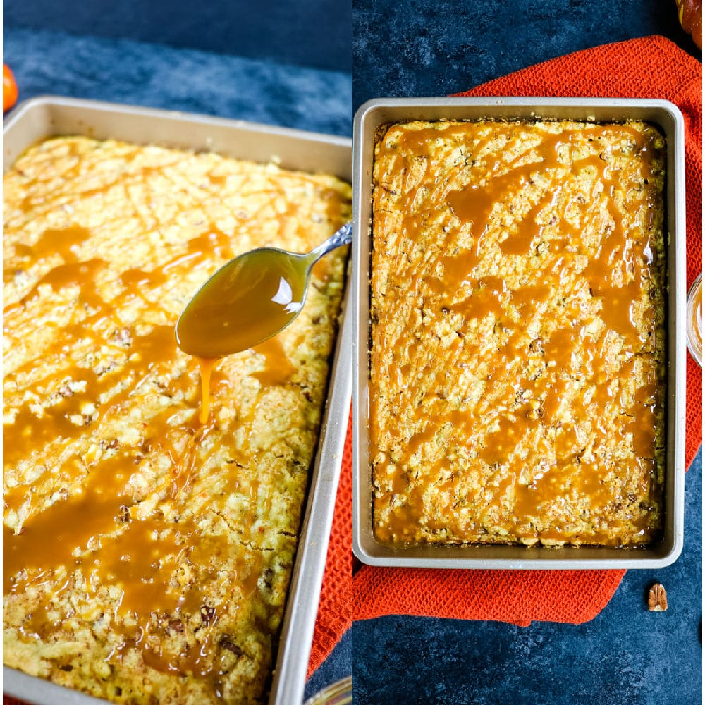 Baked pumpkin dump cake topped with caramel.