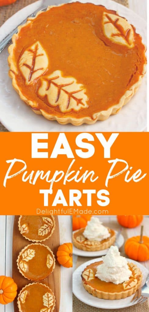 Pumpkin tarts topped with whipped cream