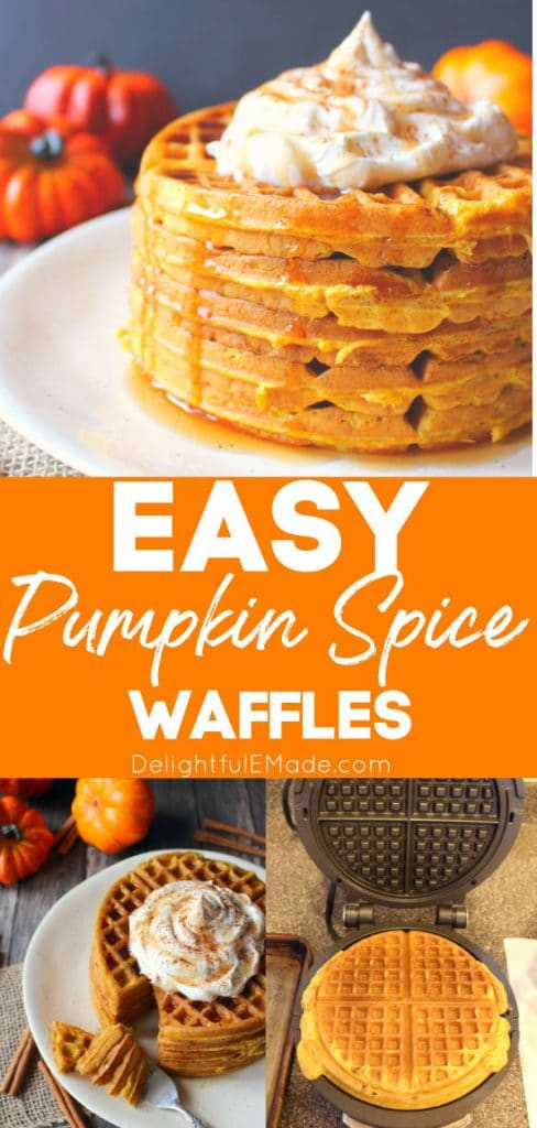 Pumpkin spice waffles stacked on a plate.