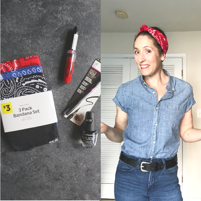 Rosie the Riveter women's Halloween costume with supplies from Dollar General.