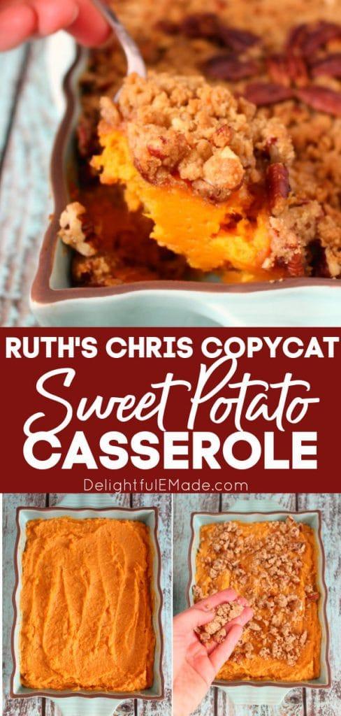 Copycat Ruth's Chris Sweet Potato Casserole in baking dish.