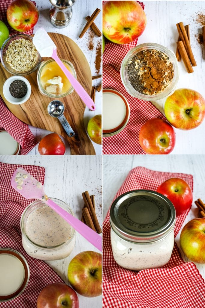 Step by step collage for apple cinnamon overnight oats
