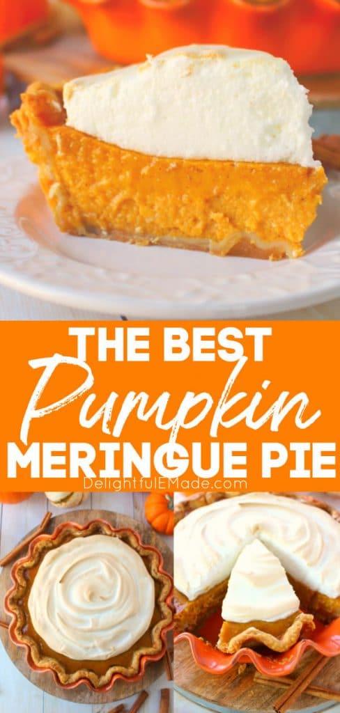 Pumpkin meringue pie, slice and on pie plate.