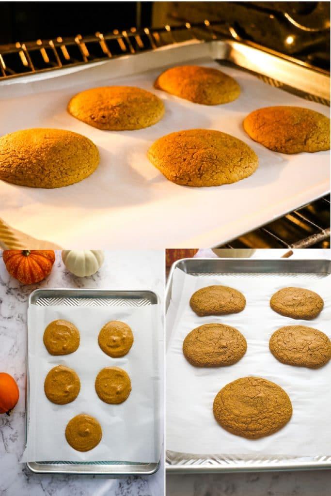 Pumpkin pancakes on sheet pan to be baked.