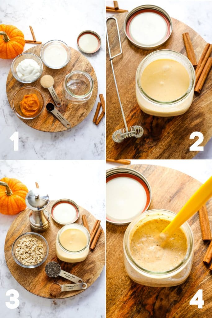 Step by step photos of ingredients for pumpkin overnight oats.