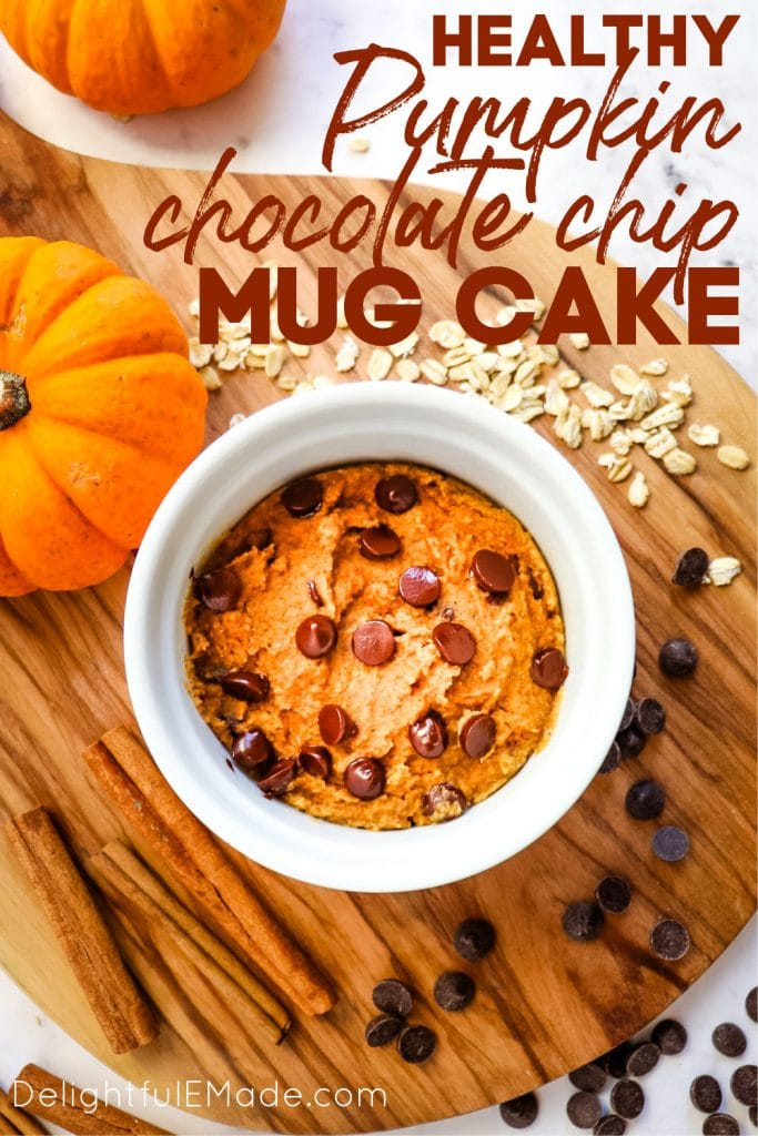 Pumpkin mug cake with chocolate chips made in microwave.