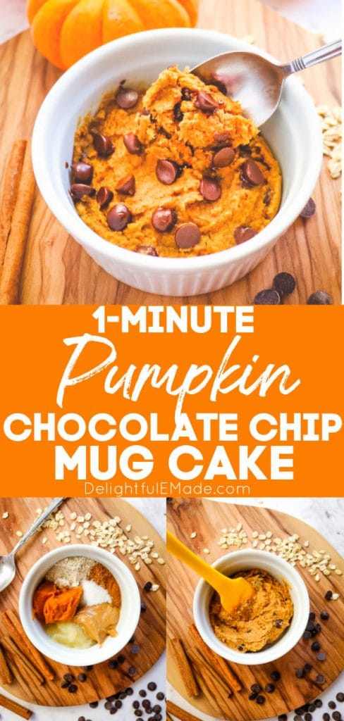 Pumpkin mug cake with chocolate chips, with ingredients and stirred.