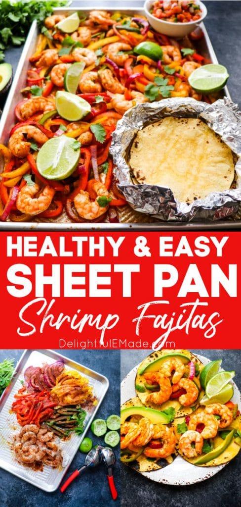 Photo collage of ingredients and baked sheet pan shrimp fajitas.