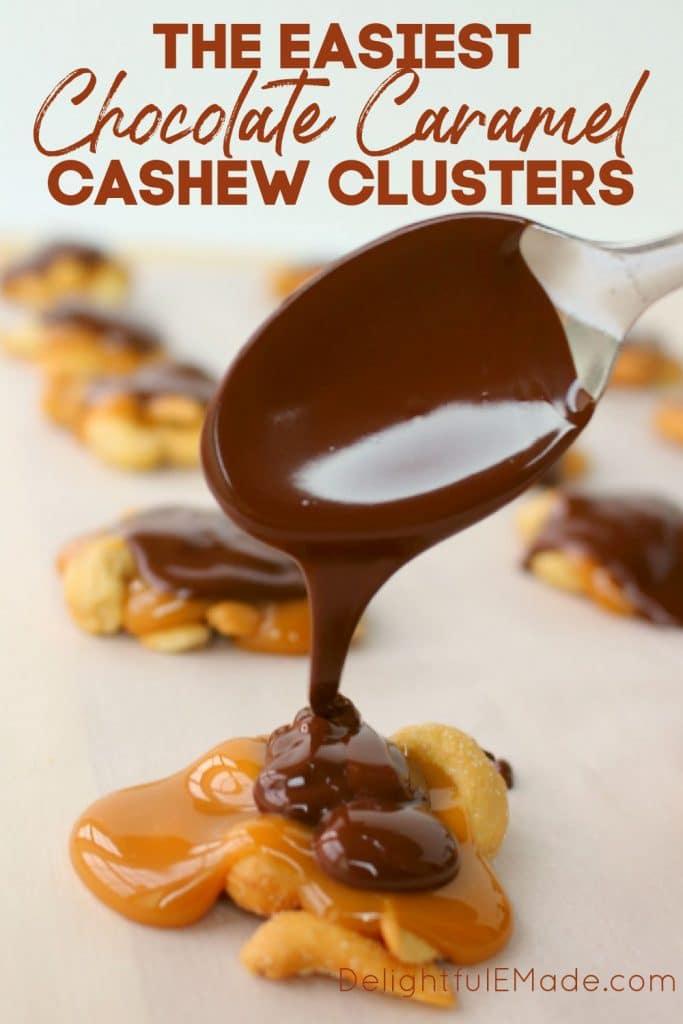 Chocolate Covered cashews recipe, made with caramel cashews