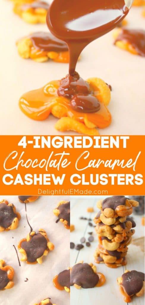 Chocolate covered cashews recipe, caramel cashews stacked