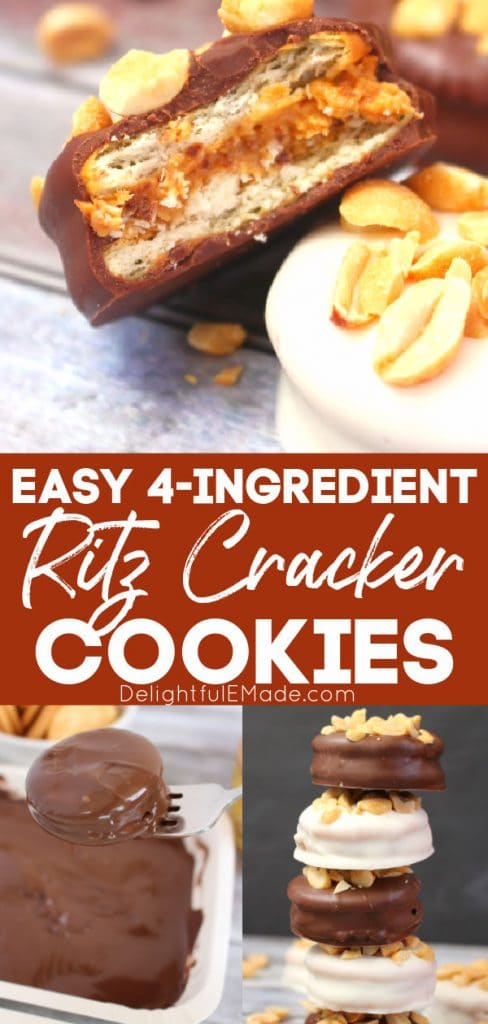 Chocolate covered ritz cracker cookies, topped with peanuts
