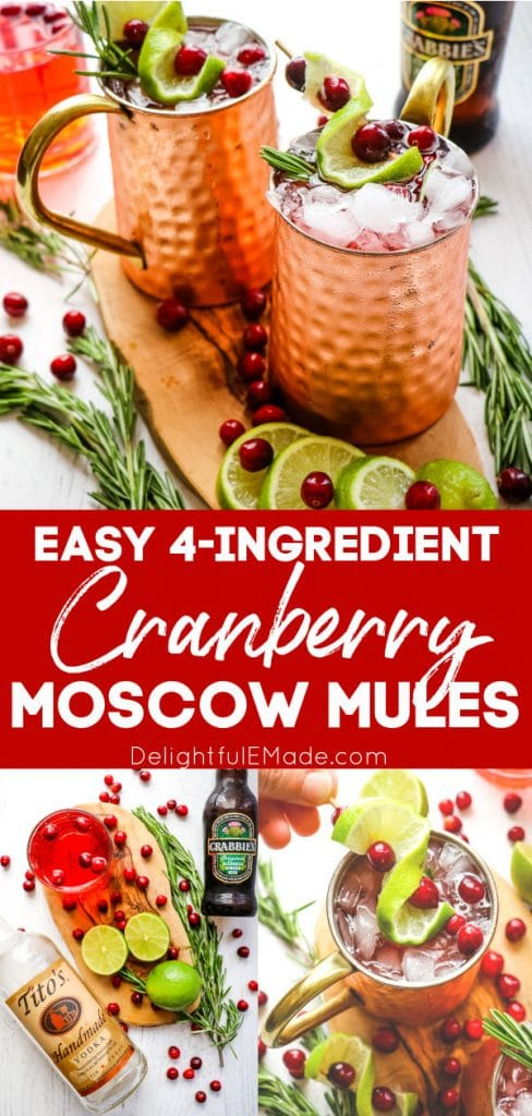 Cranberry moscow mules in copper mugs, Christmas moscow mules with ingredients.