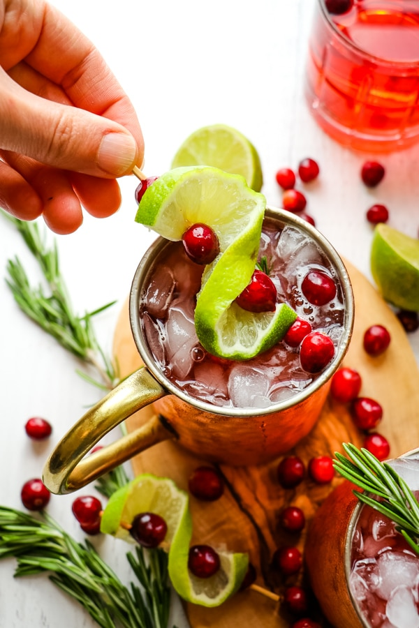 Cranberry lime garnish on top of Cranberry moscow mule.