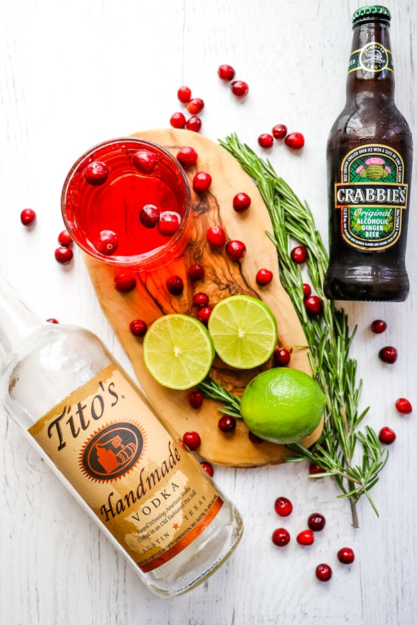 Ingredients needed for cranberry moscow mules, or christmas moscow mules.
