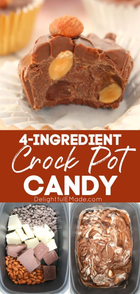 Crockpot chocolate candy with almonds, chocolate in crock pot.