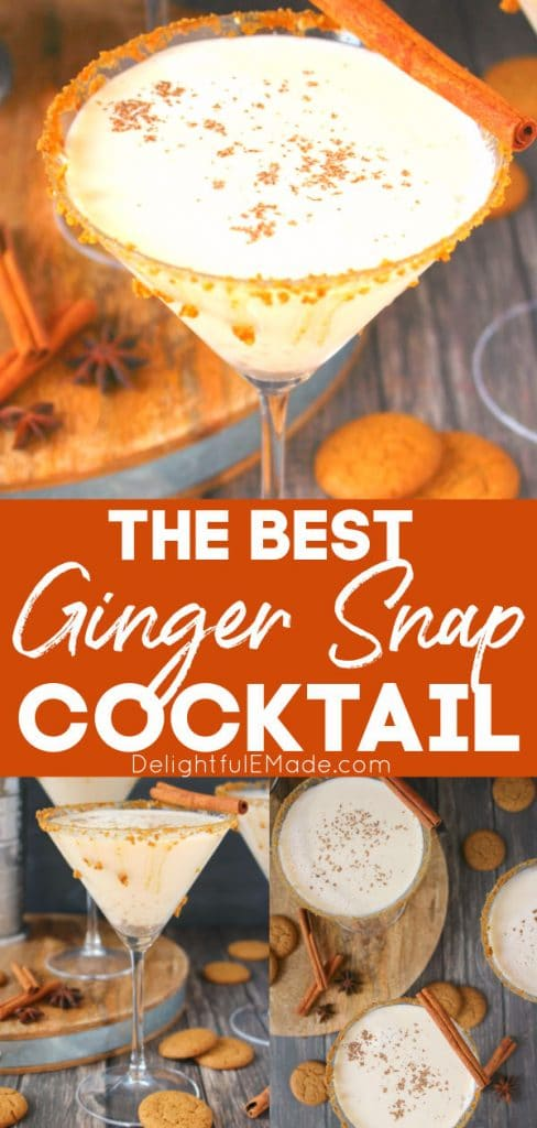 Martini glass with ginger snap cocktail, ginger martini.