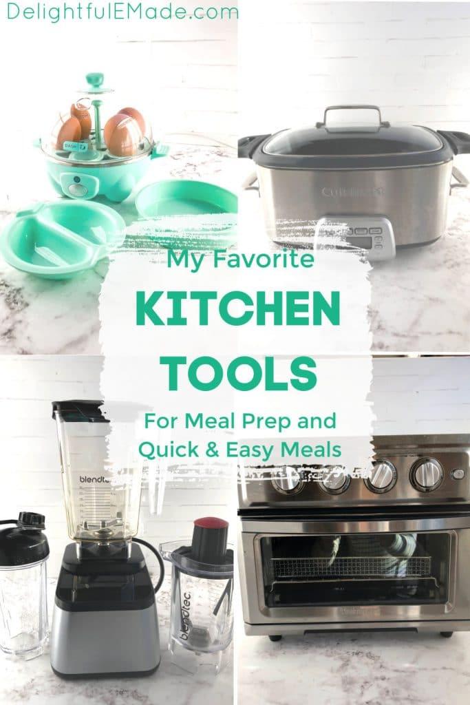 My favorite useful kitchen tools. Egg steamer, slow cooker, blender and toaster oven.