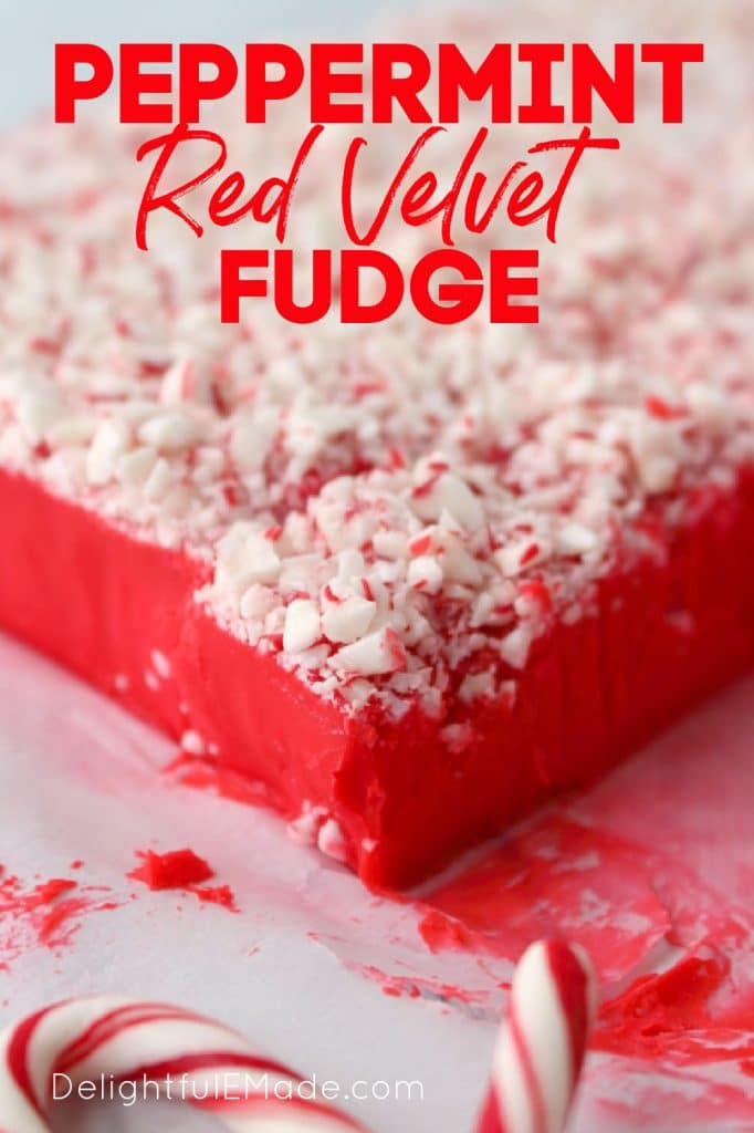 Red velvet fudge, topped with crushed peppermints.