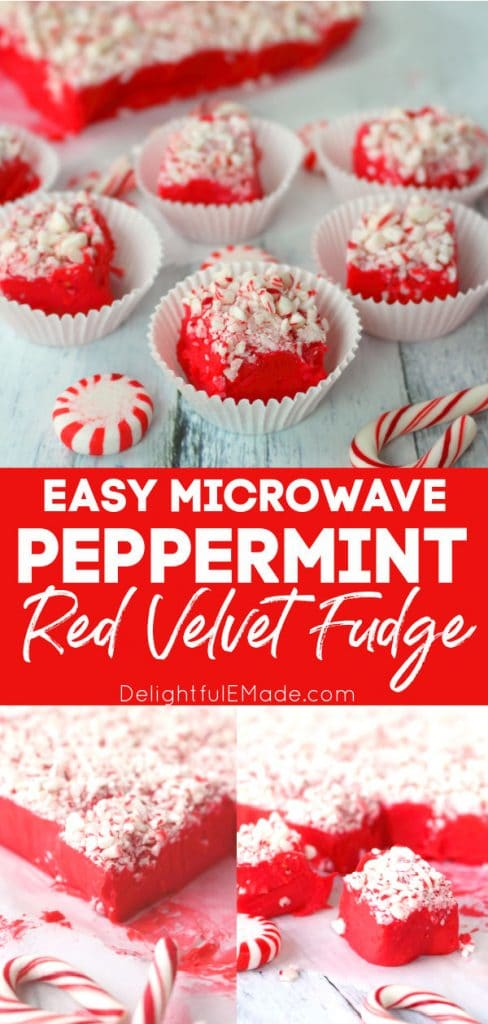 Red velvet fudge topped with crushed peppermints.