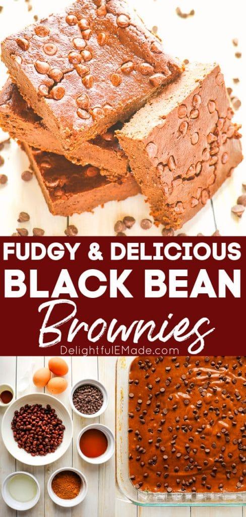 Healthy black bean brownies in pan and ingredients for black bean brownies.