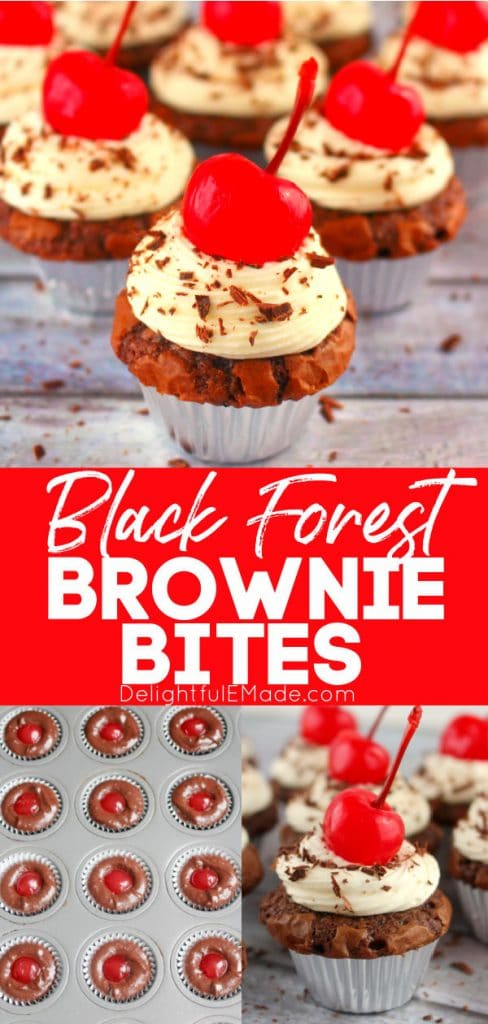 Black forest brownie bites, mini black forest brownies topped with cherries.
