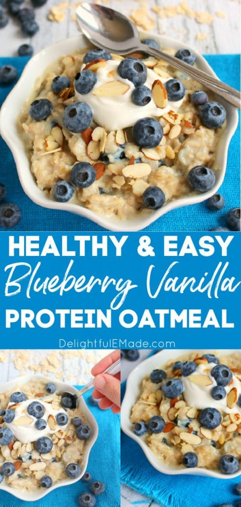 Blueberry protein oatmeal, blueberry proats in bowl with yogurt.