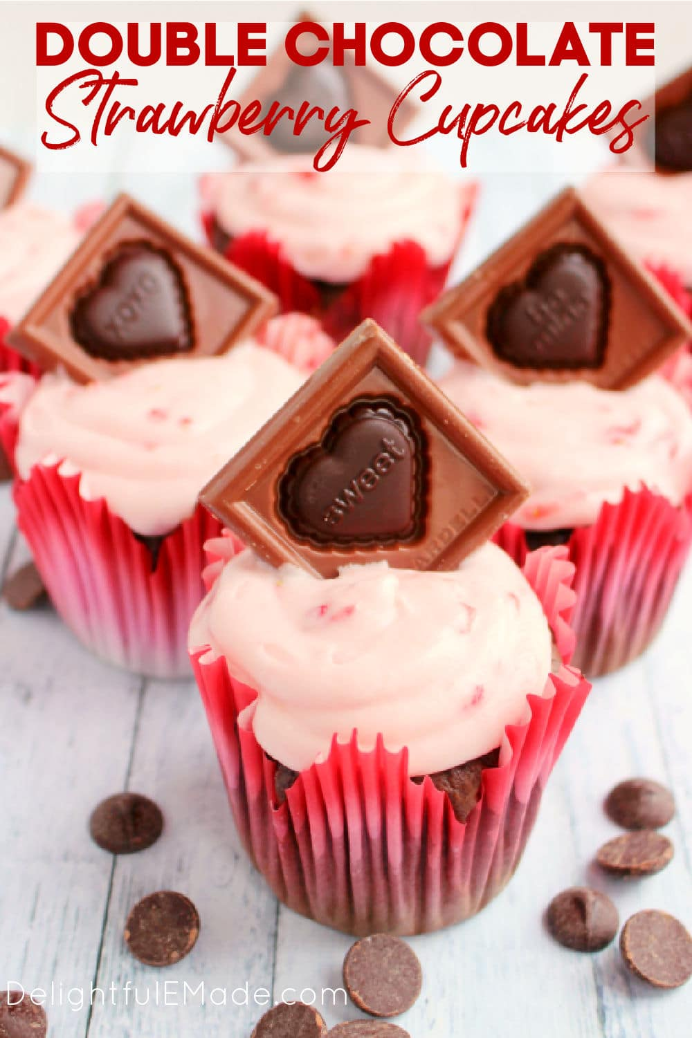Double Chocolate cupcakes with strawberry frosting are the perfect Valentine's Day cupcakes recipe.