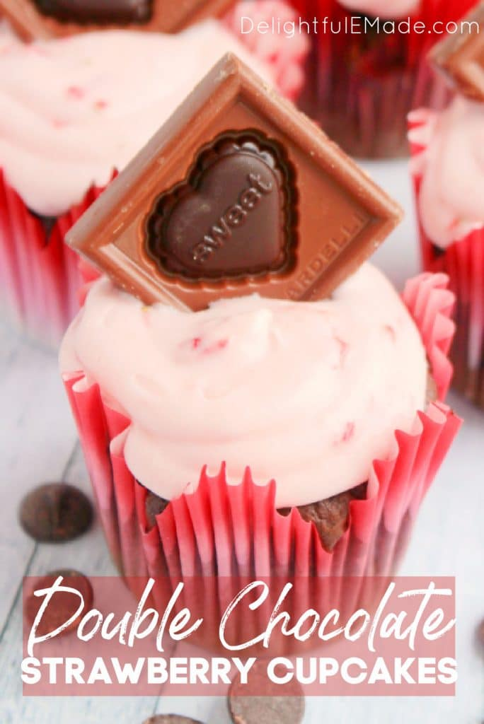 Double Chocolate cupcakes with strawberry frosting, the perfect Valentine's Day cupcakes.