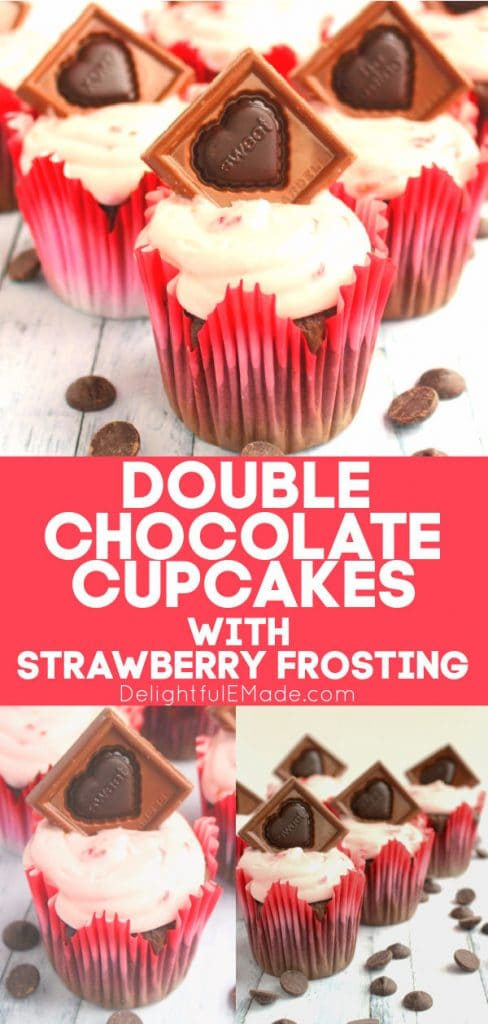 Double chocolate cupcakes with strawberry frosting, Valentine's Day Cupcakes recipe.