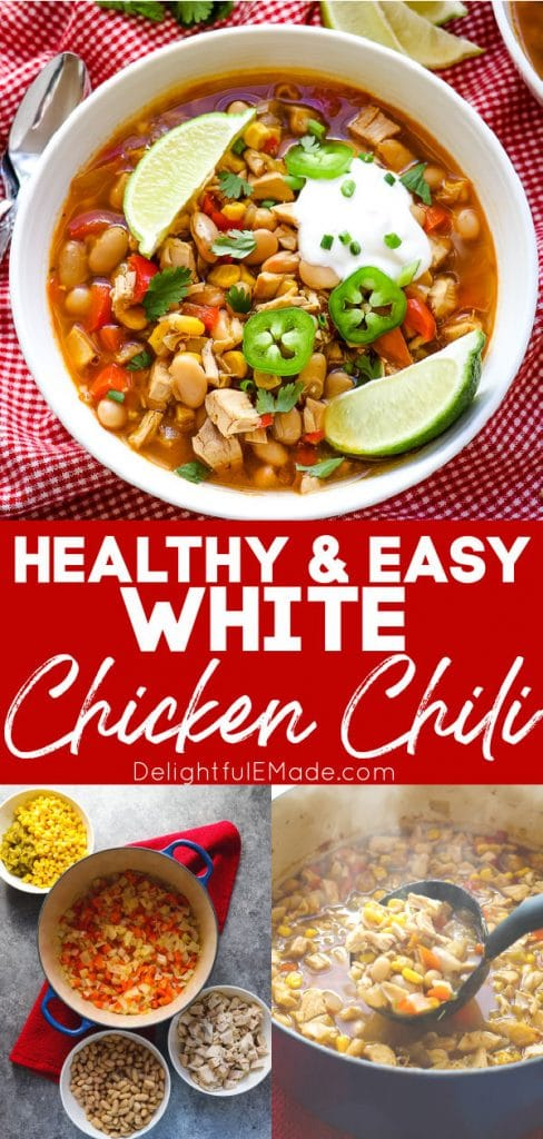 Healthy white chicken chili in bowl, and in pot with ladle.