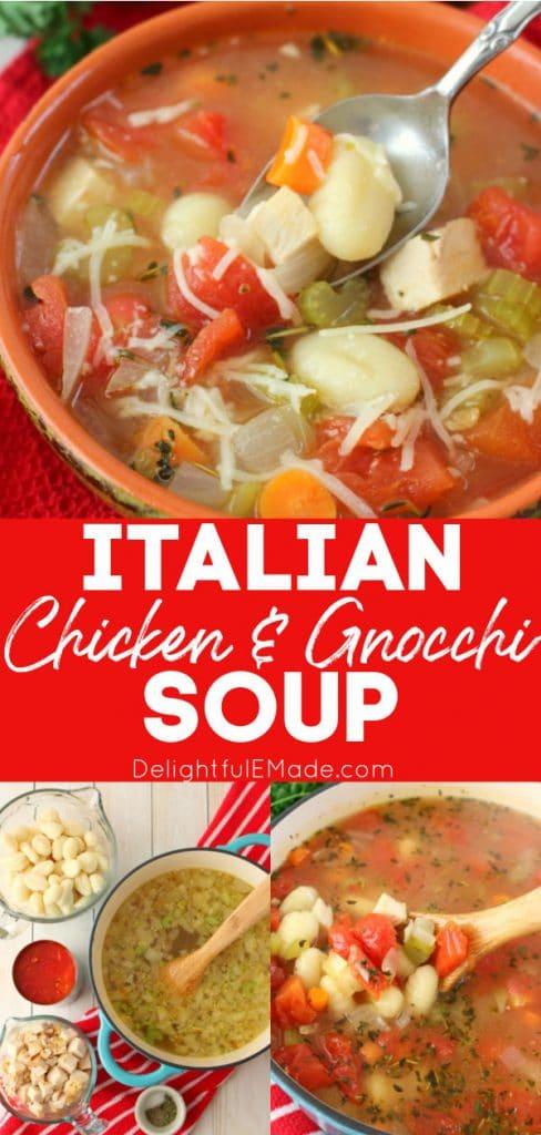 Italian Chicken dumpling soup recipe, chicken gnocchi soup recipe in bowl and soup pot.