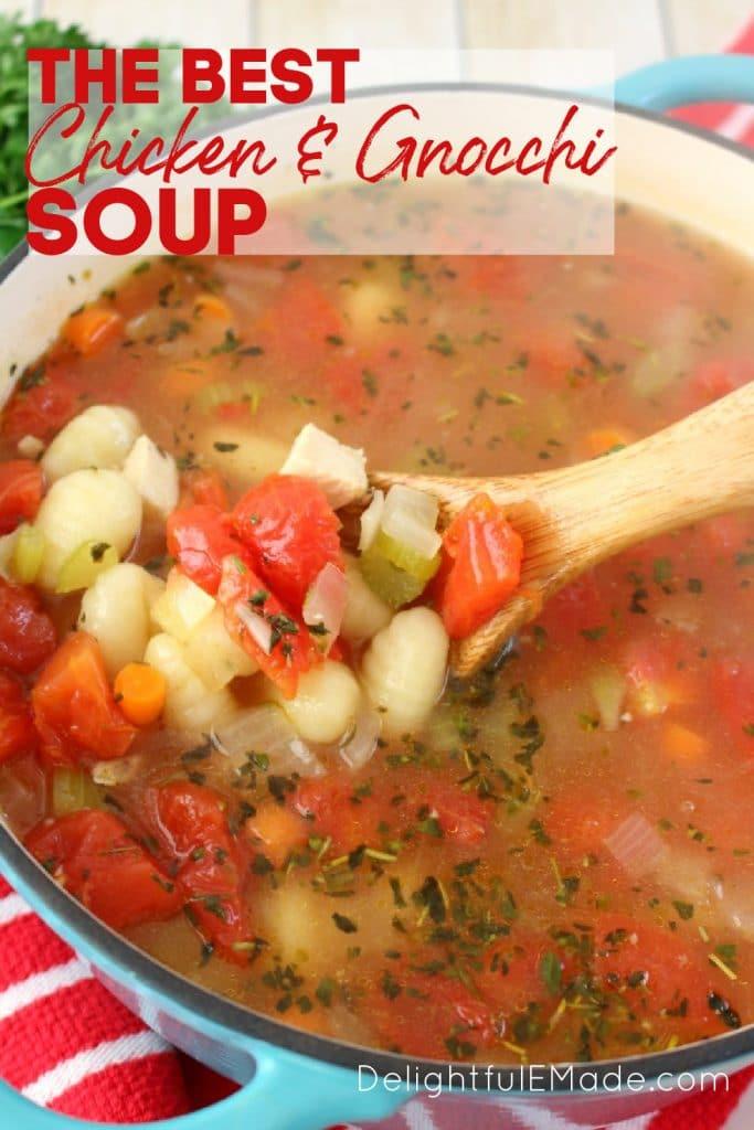 Chicken dumpling soup recipe stirred together in stock pot. Chicken gnocchi soup recipe.