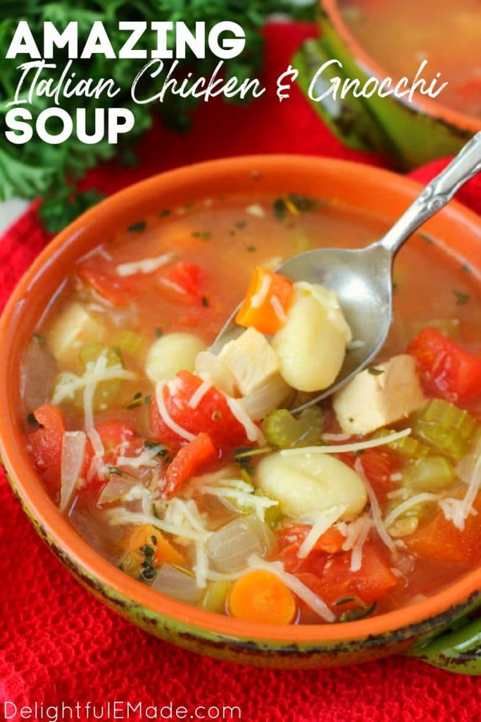 Italian chicken gnocchi soup recipe in a bowl, chicken dumpling soup recipe.
