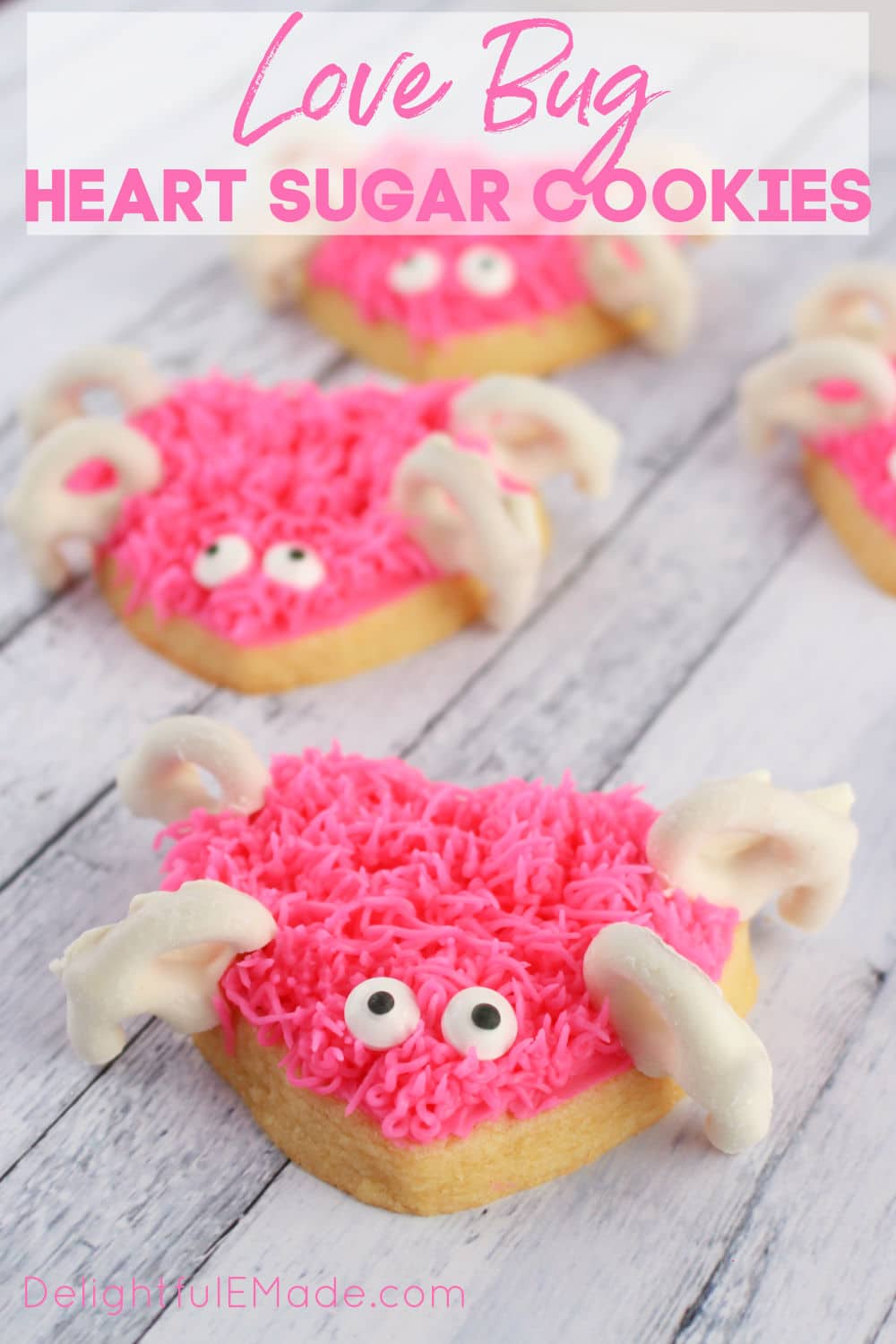Love bug frosted sugar cookies, cute Valentine's Day sugar cookies.