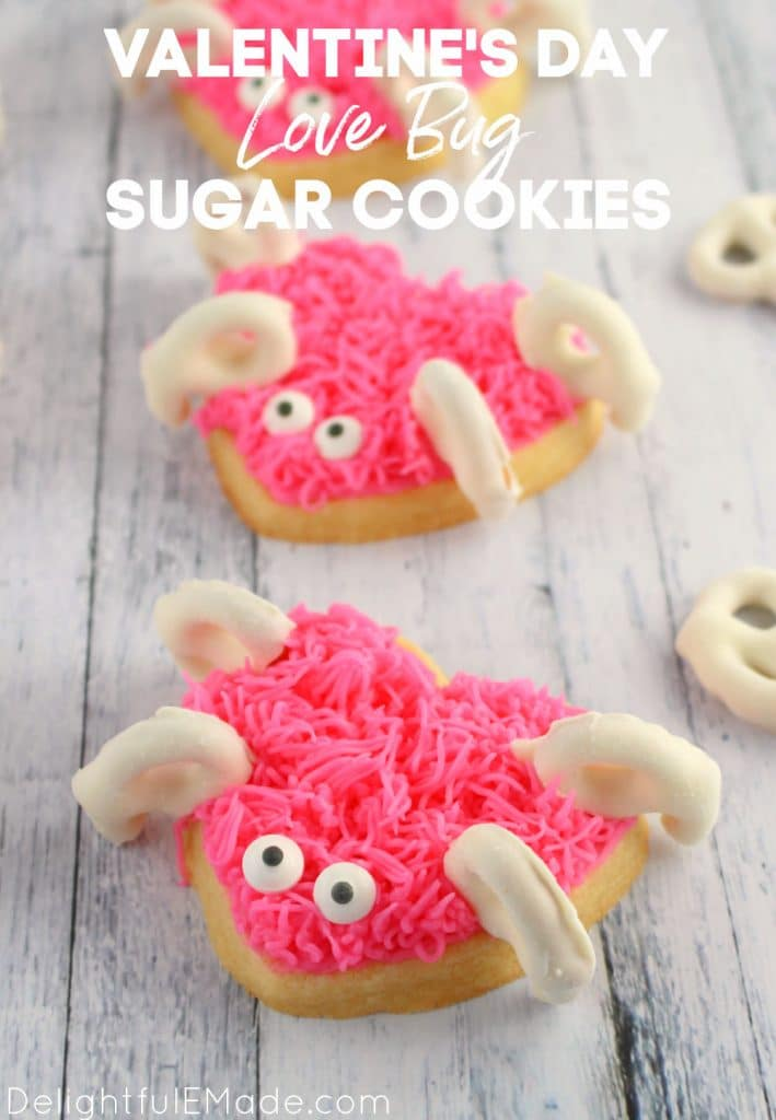 Love bug frosted sugar cookies, Valentine's Day sugar cookies recipe.