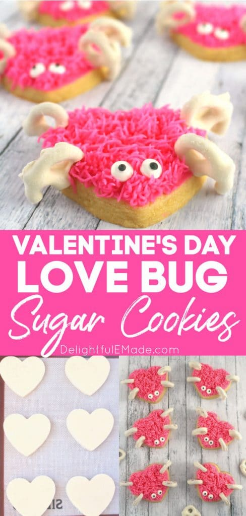 Valentine's Day sugar cookies, cute love bug frosted sugar cookies