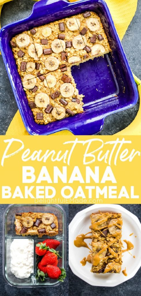 Peanut butter banana baked oatmeal, baked oatmeal bars in pan and on plate.