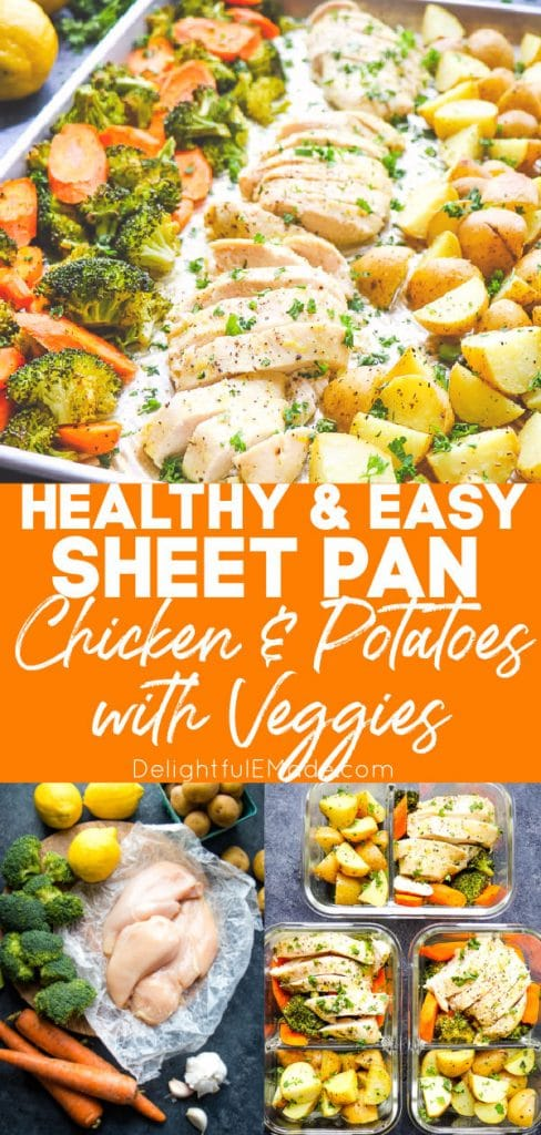 Healthy sheet pan chicken and potatoes with vegetables.