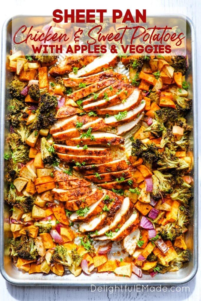 Sheet pan chicken and sweet potatoes, chicken sweet potato broccoli on a sheet pan.