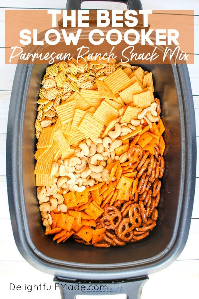 Slow cooker snack mix, parmesan ranch snack mix recipe.