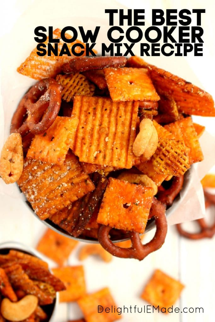 Slow cooker snack mix, parmesan ranch snack mix.