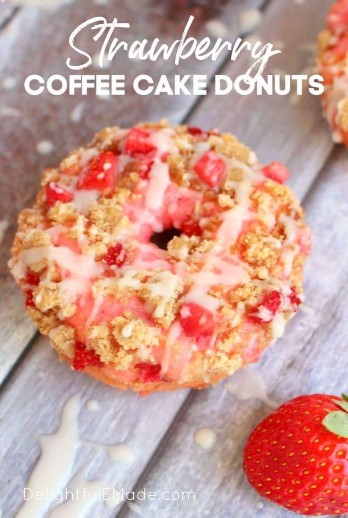 Strawberry coffee cake donuts, baked strawberry donuts with glaze.