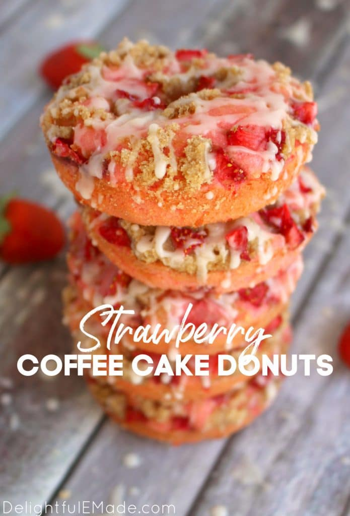Stack of strawberry cake donuts with glaze