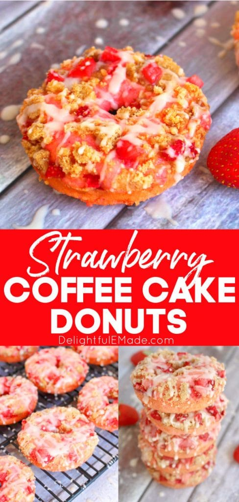 Strawberry coffee cake donuts, baked strawberry donuts