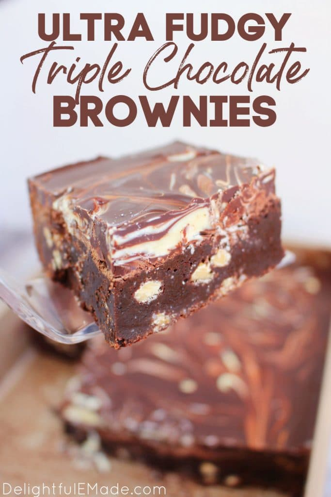 Triple chocolate fudge brownies in pan and on spatula.