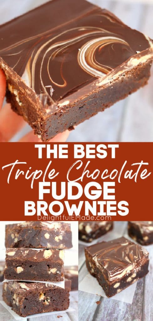 Triple chocolate fudge brownies recipe, stacked and topped with chocolate.