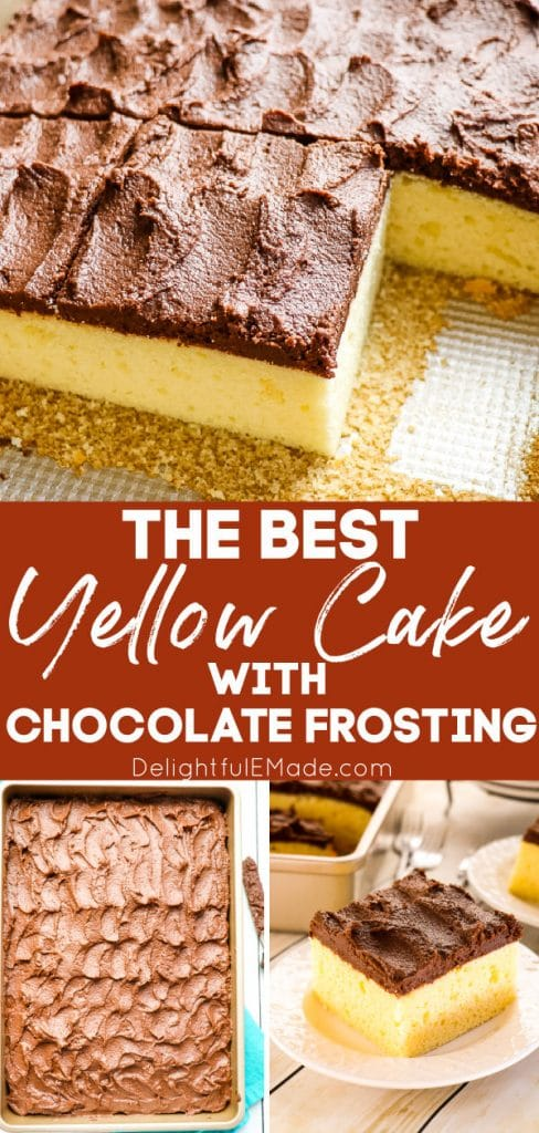 Buttermilk yellow cake with chocolate frosting, sheet cake with chocolate frosting.