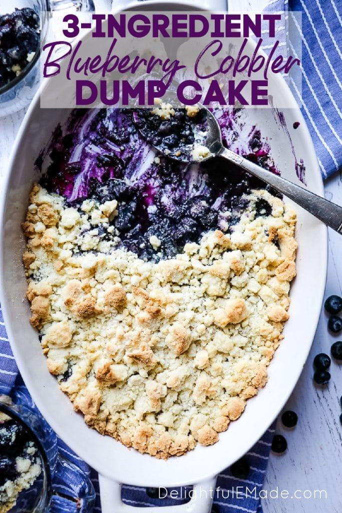 Blueberry cobbler dump cake, easy cake mix blueberry cobbler.